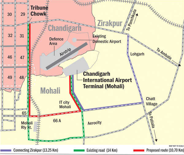 chandigarh airport location map Travel Extra Distance To Reach New Airport Indiaairport Com chandigarh airport location map